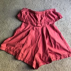 Free People Strapless Coral Romper